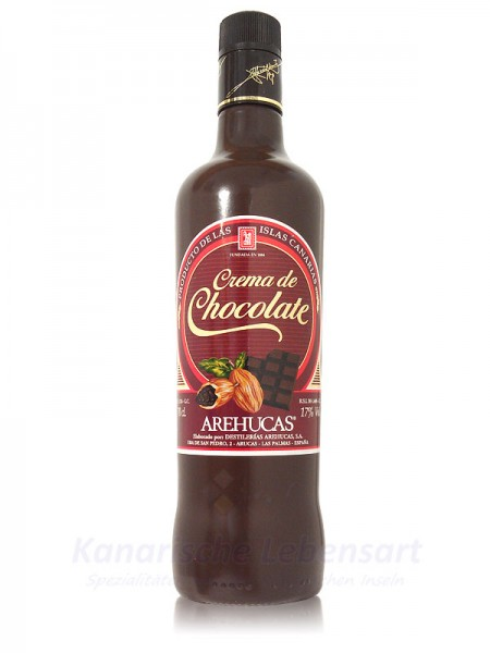 Crema de Chocolate Arehucas - Schokolikör - 0,7 Liter 17% Vol.